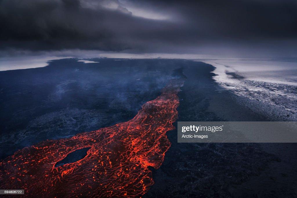Volcano Eruption at the Holuhraun Fissure near the Bardarbunga Volcano, Iceland