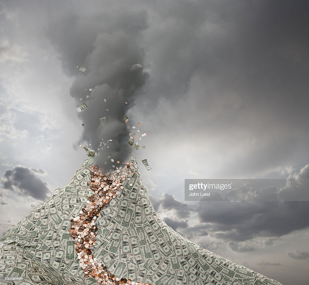 Volcano Erupts Spewing out Money : Stock Photo