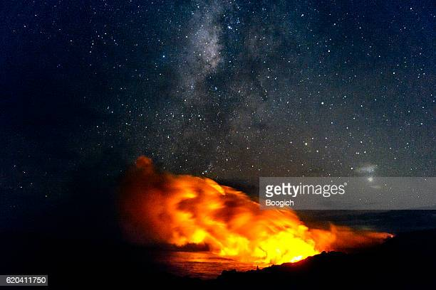 Volcanoes National Park Lava Flowing into Pacific with Milky Way