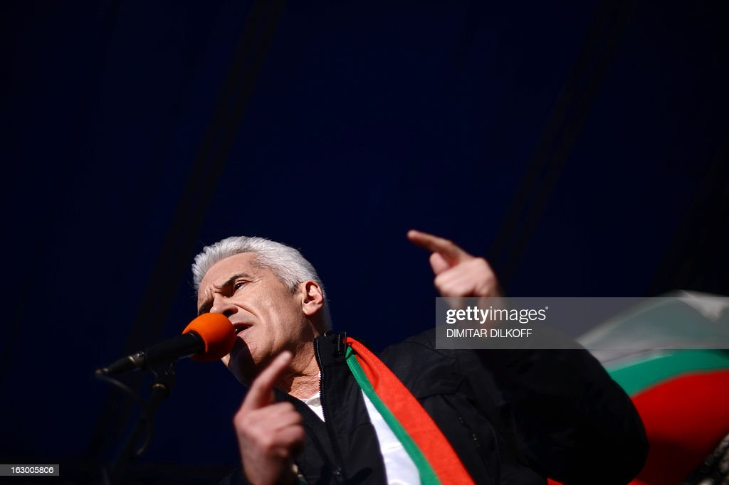 Volen Siderov, leader of the ultra-nationalist Ataka party, speaks to supporters during a protest in Sofia on March 3, 2013. Tens of thousands of Bulgarians joined new rallies across the country on March 3 to protest against poverty and corruption and denounce the whole political establishment.