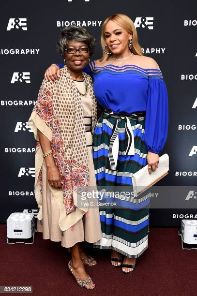 Voletta Wallace and Faith Evans attend the screening of AE 'Biography Presents Biggie The Life Of Notorious BIG' at DGA Theater on August 17 2017 in...