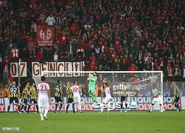 Volkan Demirel of Fenerbahce in action during the Turkish Super Lig match between Antalyaspor and Fenerbahce at Antalya Stadium in Antalya Turkey on...