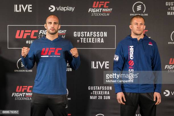 Volkan Oezdemir and Misha Cirkunov face off during the UFC Fight Night Ultimate Media Day at Ericsson Globe on May 26 2017 in Stockholm Sweden