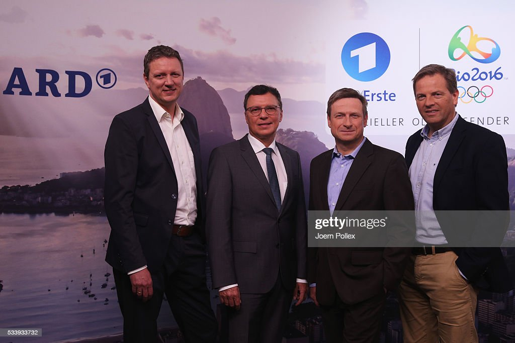 Volker Herres (2nd L), program director of ARD, Gerd Gottlob, team chef of ARD (R), Carsten Fluegel (L), program chef of ARD and Alexander Bleick (2nd R), team chef of ARD radio pose during a photocall prior to the ARD and ZDF Olympics 2016 Press Conference at Empire Riverside Hotel on May 24, 2016 in Hamburg, Germany.