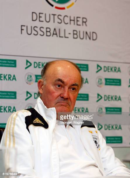 Volker Roth head of German referees looks on during the referee meeting press conference at the Sportschule Kaiserau in Kamen near Dortmund on July...