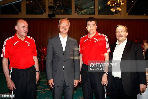 Volker Roth head of the german referees DEKRA Manager Stephan Heigl FIFA Referee Herbert Fandel and Rainer Koch Vice President of the German Football...