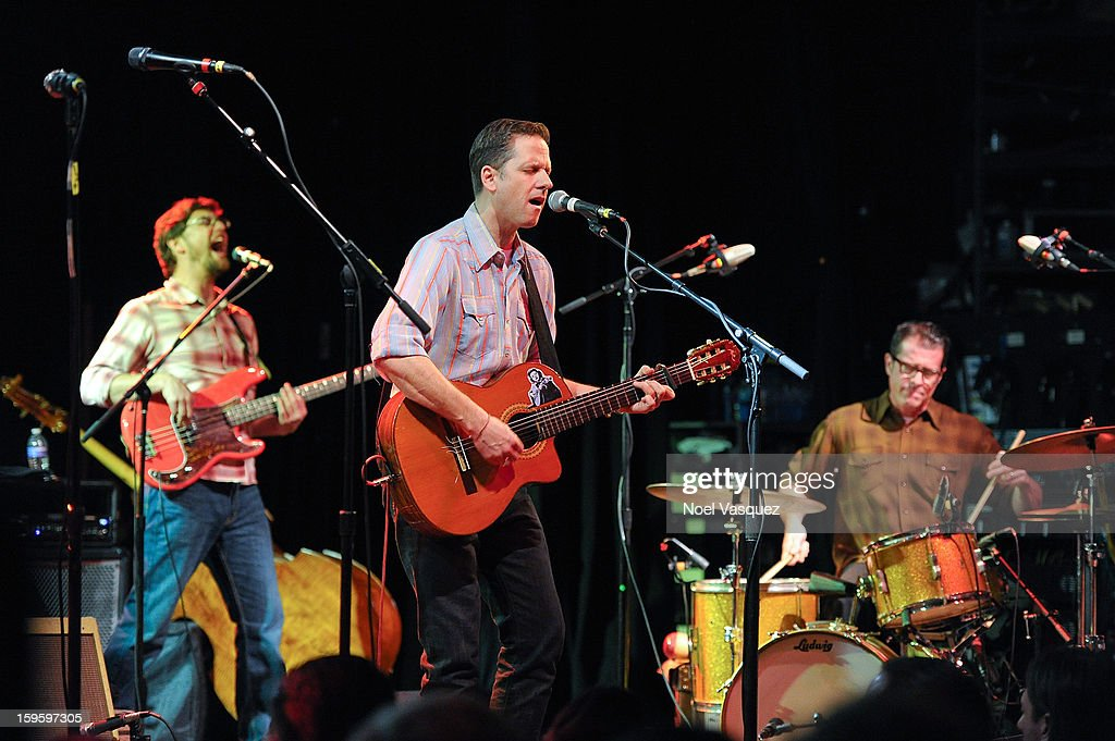 Volker Zander, Joey Burns and John Convertino of Calexico perform at El Rey Theatre on January 16, 2013 in Los Angeles, California.
