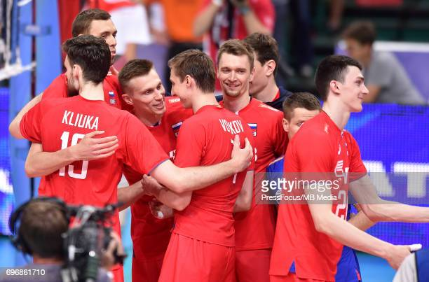 Volkov Dmitry KOvalev Dmitry Kliuka Egor during the FIVB Volleyball World League 2017 match between Poland and Russia at Spodek on June 15 2017 in...