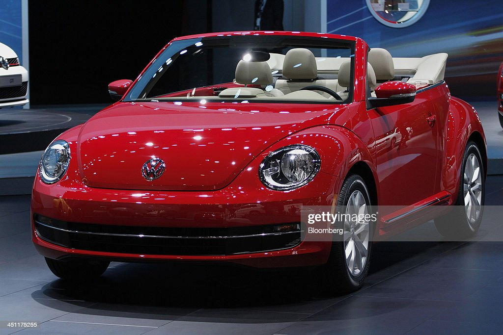 A Volkswagen AG Beetle Cabriolet vehicle is displayed during the LA Auto Show in Los Angeles, California, U.S., on Thursday, Nov. 21, 2013. The 2013 LA Auto Show is open to the public Nov. 22 - Dec. 1. Photographer: Jonathan Alcorn/Bloomberg via Getty Images