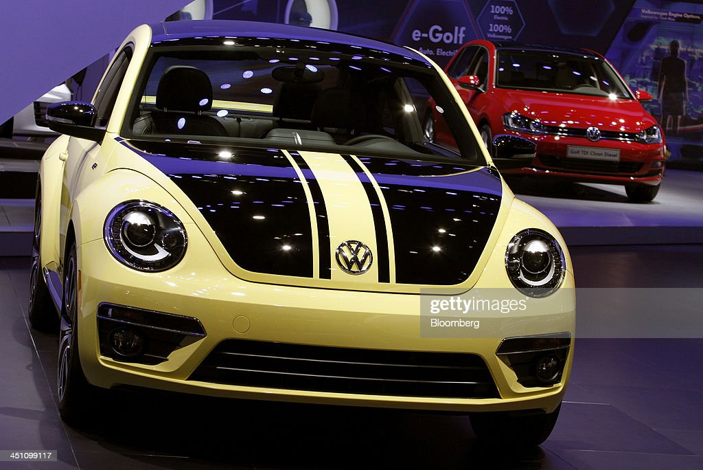 A Volkswagen AG Beetle GSR vehicle is displayed during the LA Auto Show in Los Angeles, California, U.S., on Thursday, Nov. 21, 2013. The 2013 LA Auto Show is open to the public Nov. 22 - Dec. 1. Photographer: Jonathan Alcorn/Bloomberg via Getty Images