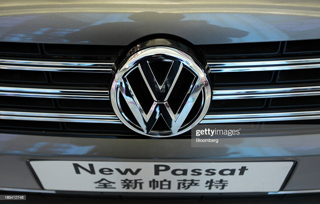 A Volkswagen AG Passat sedan is displayed inside the Oriental Pearl Tower in the Pudong area of Shanghai, China, on Wednesday, Jan. 30, 2013. China's economic growth accelerated for the first time in two years as government efforts to revive demand drove a rebound in industrial output, retail sales and the housing market. Photographer: Tomohiro Ohsumi/Bloomberg via Getty Images