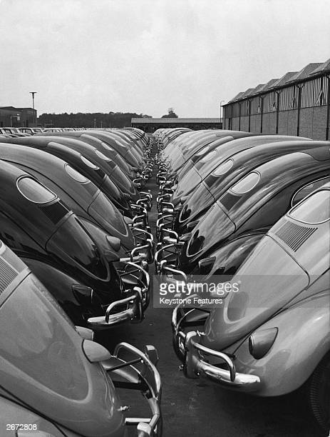 Volkswagen Beetle cars awaiting export from the Wolfsburg factory Germany