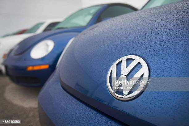Volkswagen Beetles are offered for sale at a dealership on September 18 2015 in Chicago Illinois The Environmental Protection Agency has accused...