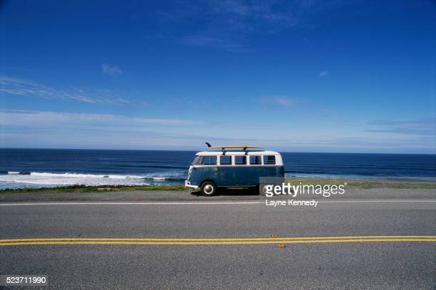 Volkswagen Bus and Surfboard