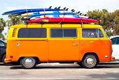 Volkswagen Bus with surf boards.