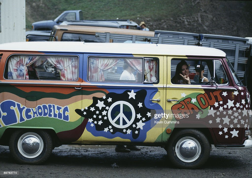 A Volkswagen camper van with psychedelic paintwork, at the Woodstock '94 music festival, Saugerties, New York, 12th-14th August 1994.