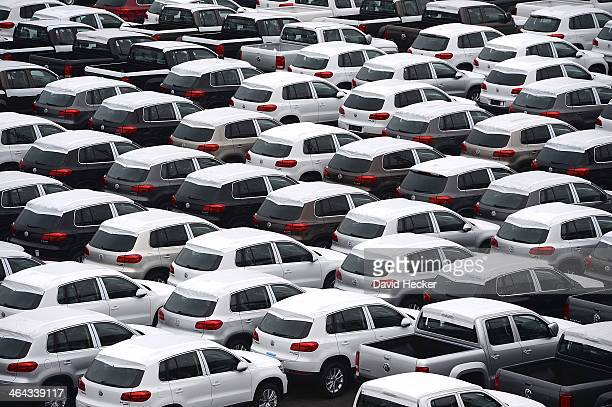 Volkswagen cars destined for export overseas stand parked and waiting to be loaded onto ships on January 22 2014 in Bremerhaven Germany Bremerhaven...