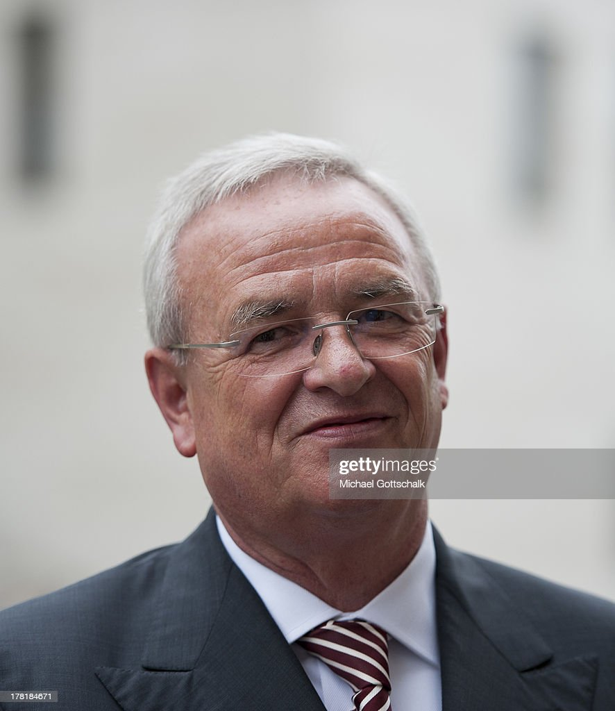 Volkswagen CEO <a gi-track='captionPersonalityLinkClicked' href=/galleries/search?phrase=Martin+Winterkorn&family=editorial&specificpeople=840091 ng-click='$event.stopPropagation()'>Martin Winterkorn</a> at the 'Economy Day' of the annual German ambassadors' conference at the foreign ministry in Berlin on August 27, 2013. The Economy Day brings together prominent members of German industry and enterprise with members of Germany's foreign service.