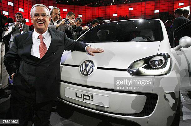 Volkswagen CEO Martin Winterkorn unveils the new VWUP concept car on the stand of the German carmaker Volkswagen 10 September 2007 in Frankfurt/Main...