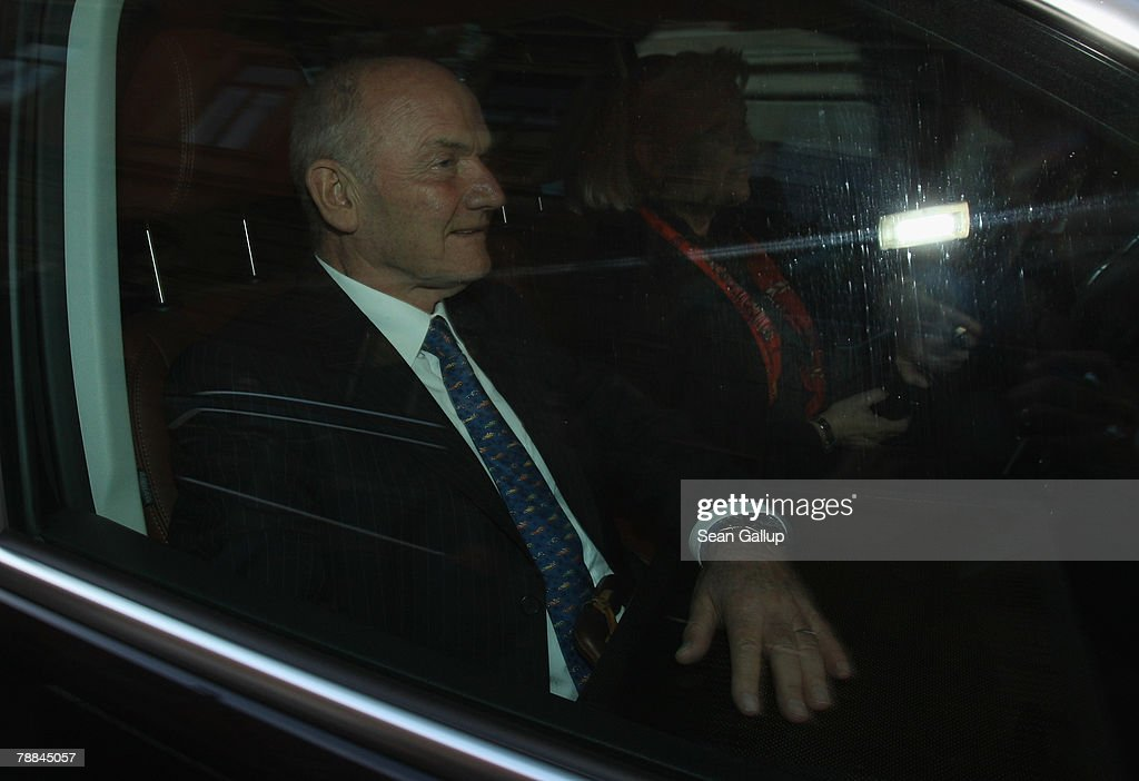 Volkswagen Chairman Ferdinand Piech departs in a car driven by his wife Ursula after testifying at court as a witness in the current Volkswagen embezzlement trial January 9, 2007 in Braunschweig, Germany. Piech, who was chief executive at VW from 1993 to 2002, denied he knew of bribery and company-paid prostitution visits involving members of the Volkswagen works council at the time.