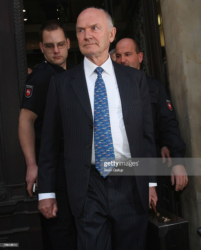 Volkswagen Chairman Ferdinand Piech emerges from court after testifying as a witness in the current Volkswagen embezzlement trial January 9, 2008 in Braunschweig, Germany. Piech, who was chief executive at VW from 1993 to 2002, denied he knew of bribery and company-paid prostitution visits involving members of the Volkswagen works council at the time.