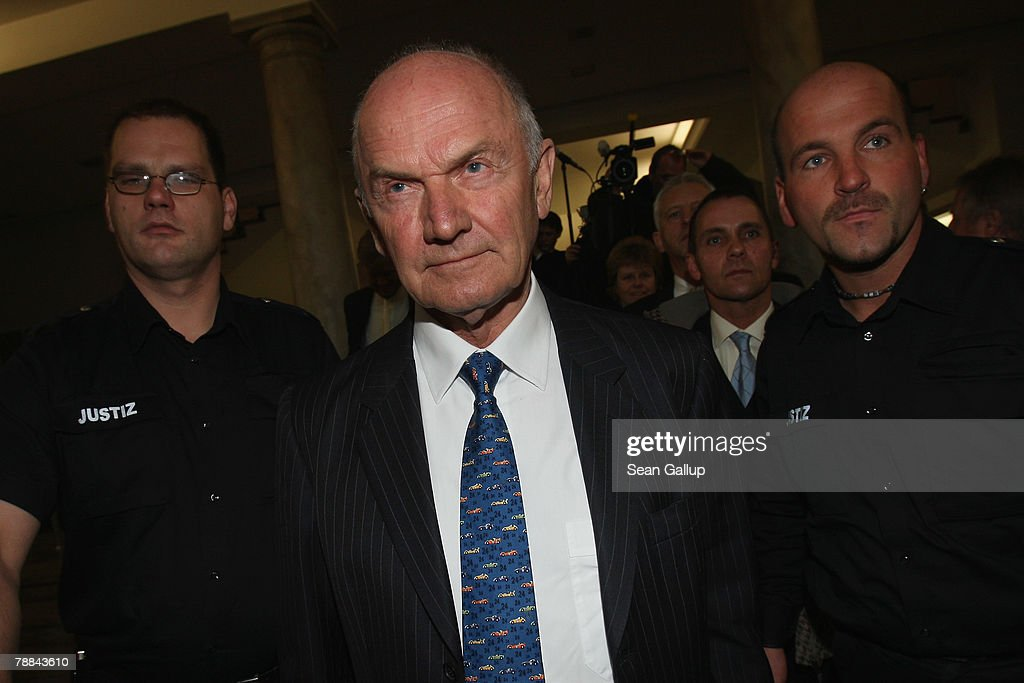 Volkswagen Chairman Ferdinand Piech leaves court after testifying as a witness in the current Volkswagen embezzlement trial January 9, 2008 in Braunschweig, Germany. Piech, who was chief executive at VW from 1993 to 2002, denied he knew of bribery and company-paid prostitution visits involving members of the Volkswagen works council at the time.