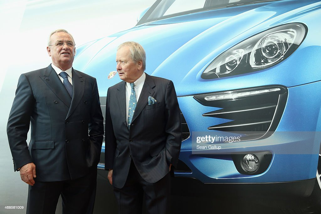 Volkswagen Chairman Martin Winterkorn (L) and Porsche Governing Board Chairman Wolfgang Porsche attend the official opening of the new Porsche Macan factory at the Porsche plant on February 11, 2014 in Leipzig, Germany. Porsche plans to produce 50,000 of the new small SUV Macan annually.