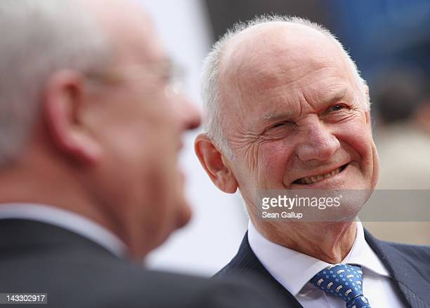 Volkswagen Chairman of the Supervisory Board Ferdinand Piech and Volkswagen CEO Martin Winterkorn chat while waiting for the arrival of Chinese...