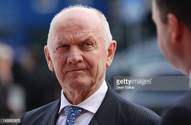 Volkswagen Chairman of the Supervisory Board Ferdinand Piech waits for the arrival of Chinese Premier Wen Jiabao at the Volkswagen factory on April...