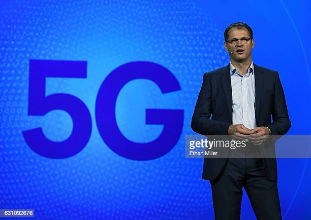 Volkswagen Executive Director of Electrics and Electronics Development Dr Volkmar Tanneberger speaks during a keynote address by Qualcomm Inc CEO...
