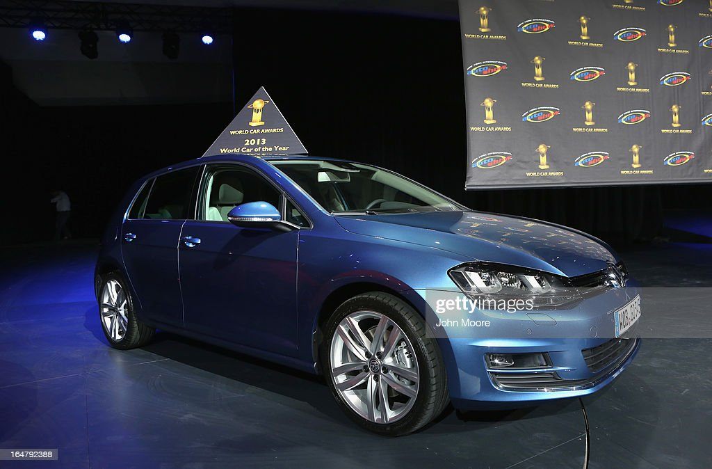 A Volkswagen Golf is displayed after being named the 2013 World Car of the Year at the New York Auto Show on March 28, 2013 in New York City. It was the second consecutive year that Volkswagen has won the prestigious title.