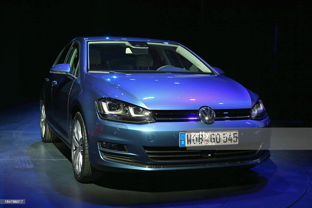 A Volkswagen Golf is displayed before being named the 2013 World Car of the Year at the New York Auto Show on March 28, 2013 in New York City. It was the second consecutive year that Volkswagen has won the prestigious title.