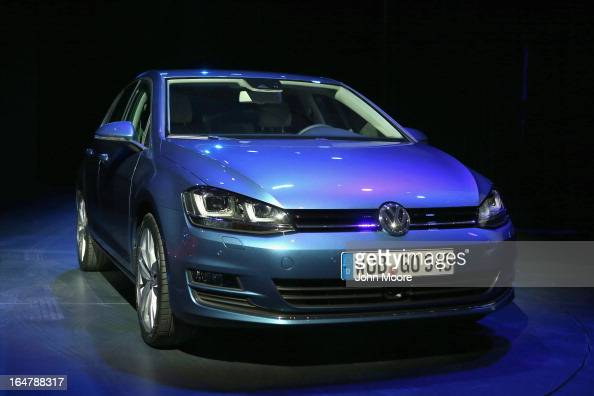 Volkswagen Golf is displayed before being named the 2013 World Car of the Year at the New York Auto Show on March 28 2013 in New York City It was the...