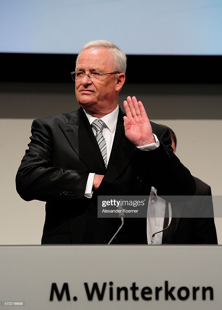 Volkswagen Group CEO Martin Winterkorn arrives for the Volkswagen annual general shareholders' meeting on May 5, 2015 in Hanover, Germany. Winterkorn recently won out in a power struggle against VW Group Chairman Ferdinand Piech, who stepped down afterwards and, along with his wife, quit his position on the VW supervisory board. Volkswagen Group, with its 12 brands, is Germany's biggest carmaker.