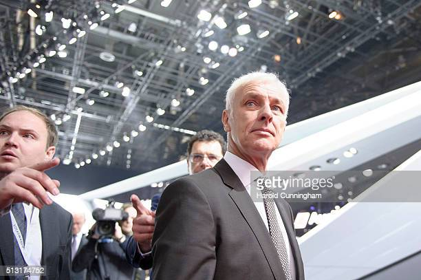 Volkswagen Group Chairman Matthias Mueller looks on following the Audi press conference as part of the Geneva Motor Show 2016 on March 1 2016 in...