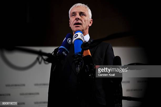 Volkswagen Group Chairman Matthias Mueller speaks to the media during an interview after a press conference to announce the latest update in the...