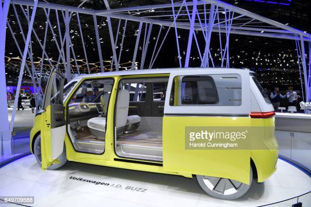 Volkswagen ID Buzz is displayed during the 87th Geneva International Motor Show on March 8 2017 in Geneva Switzerland The International Motor Show...