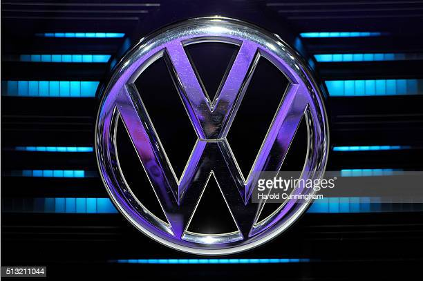 Volkswagen logo is displayed during the Geneva Motor Show 2016 on March 1 2016 in Geneva Switzerland