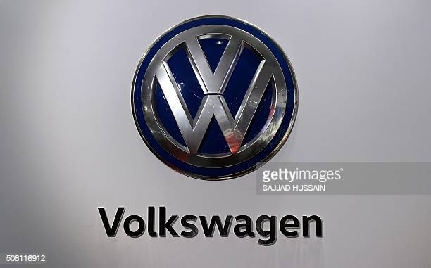 A Volkswagen logo is pictured at the Indian Auto Expo 2016 in Greater Noida on the outskirts of New Delhi on February 3 2016 India's flagship auto...