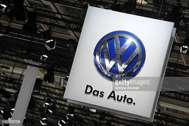 A volkswagen logo is seen at the Paris Auto Show on September 27 2012 in Paris France Volkswagen is hoping the new Golf will help the company to...