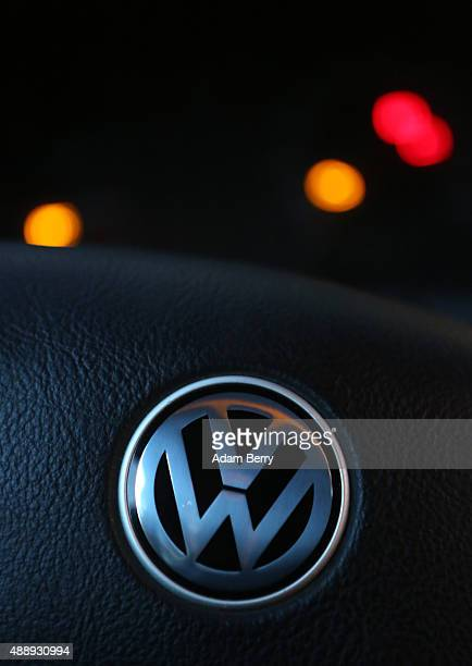 Volkswagen logo is seen on the steering wheel of one of the automobile manufacturer's cars on September 18 2015 in Berlin Germany The Obama...