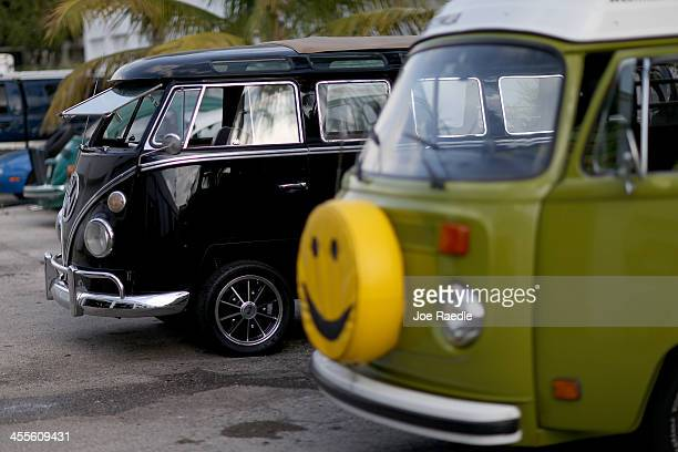 Volkswagen OvalWindow bus and a 1976 VW camper bus are seen at McNab Foreign Car garage that specializes in restoring VW vehicles on December 12 2013...