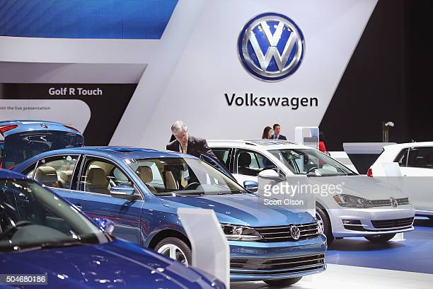 Volkswagen shows off their car lineup at the North American International Auto Show on January 12 2016 in Detroit Michigan The show is open to the...