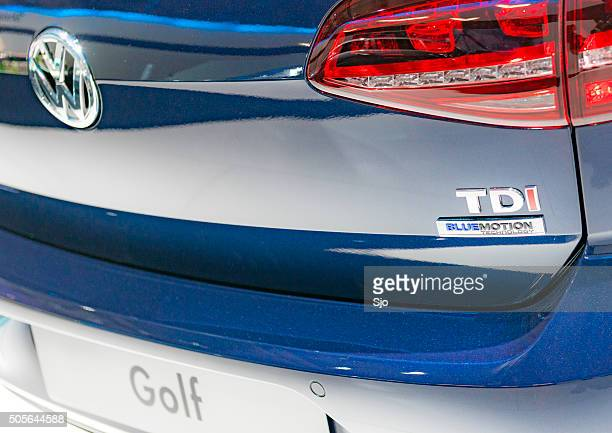 Volkswagen TDi Bluemotion badge on a Volkswagen Golf