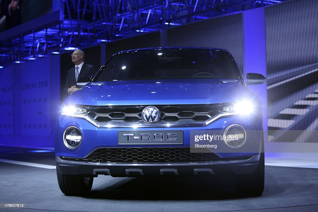 A Volkswagen T-Roc concept automobile, produced by Volkswagen AG (VW), stands on display during a news conference ahead of the opening day of the 84th Geneva International Motor Show in Geneva, Switzerland, on Monday, March 3, 2014. The International Geneva Motor Show will run from Mar. 4, and showcase the latest models from the world's top automakers. Photographer: Chris Ratcliffe/Bloomberg via Getty Images