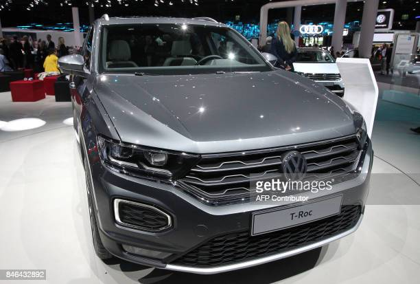 A Volkswagen TRoc is presented at the Frankfurt Auto Show IAA in Frankfurt am Main Germany on September 13 2017 According to organisers around 1000...