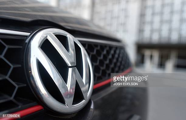A Volkswagen vehicle is seen parked in front of the US District Court in San Francisco California after a court proceeding regarding the Volkswagen...