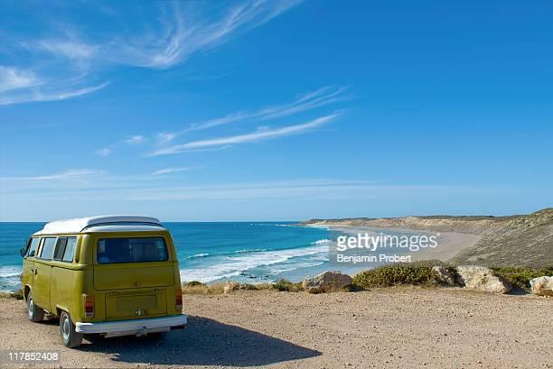 Volkswagon Combi at beach, Blue ocean, sky, clouds