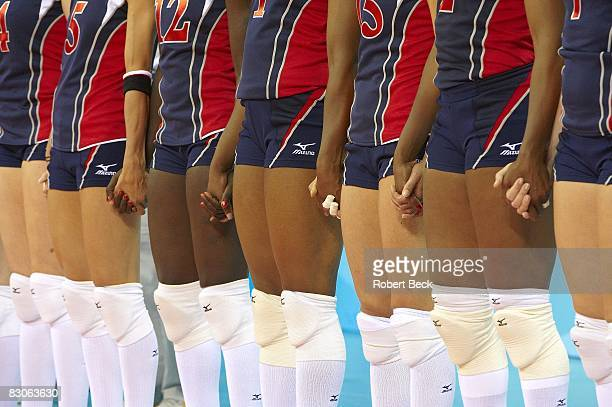 2008 Summer Olympics Team USA holding hands before Women's Gold Medal Game vs Brazil at Capital Indoor Stadium Beijing China 8/23/2008 CREDIT Robert...