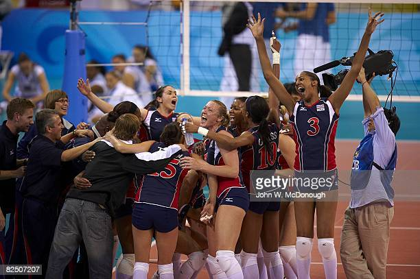 2008 Summer Olympics Team USA victorious after winning Women's Quarterfinals vs Italy at Capital Indoor Stadium Beijing China 8/19/2008 CREDIT John W...